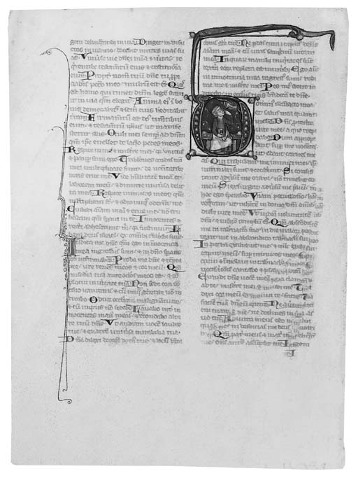 THREE HISTORIATED INITIALS, on two leaves from a Bible with the Prologues attributed to St Jerome, in Latin, ILLUMINATED MANUSCRIPT ON VELLUM