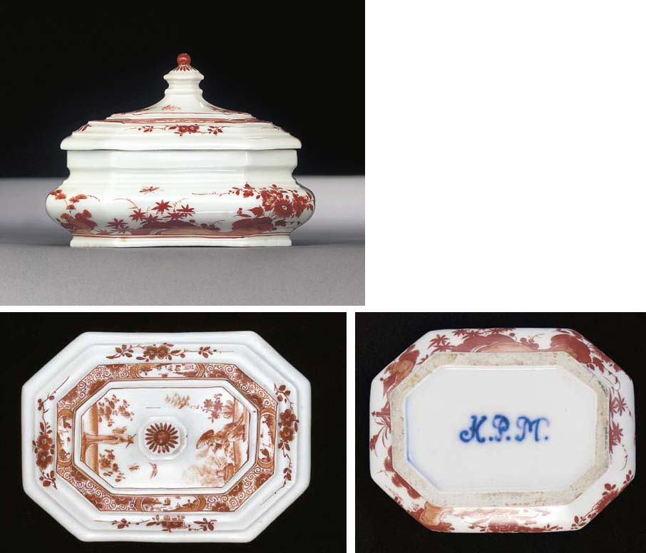 A Meissen K.P.M. oblong-octagonal sugar-box and cover
