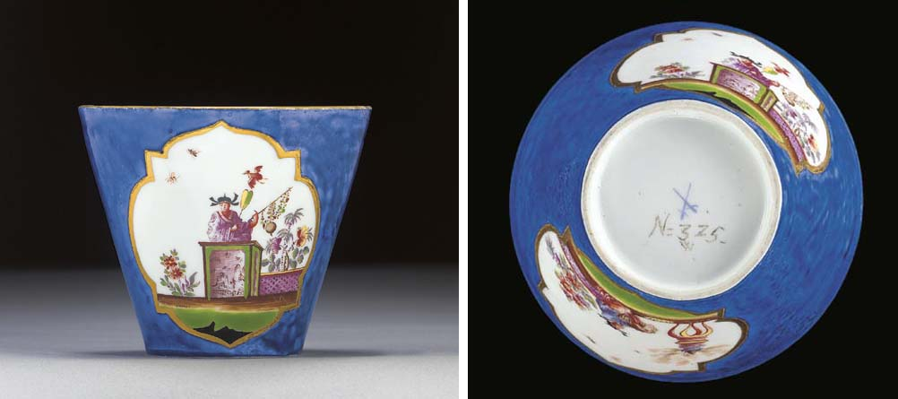 A Meissen conical blue-ground Chinoiserie beaker