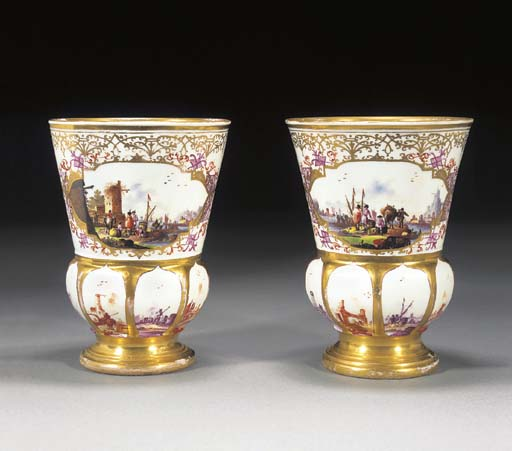 A pair of Meissen thistle-shaped pokale