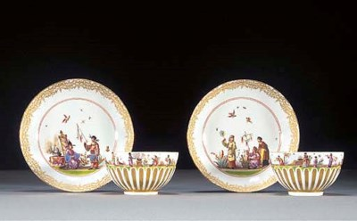 A pair of Meissen chinoiserie