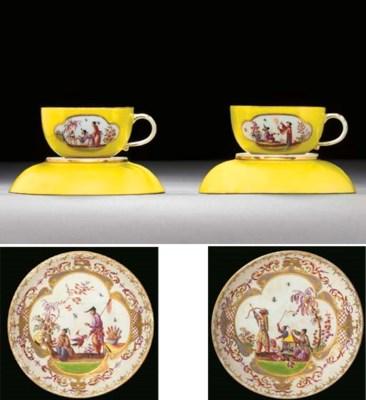 A pair of Meissen yellow-groun