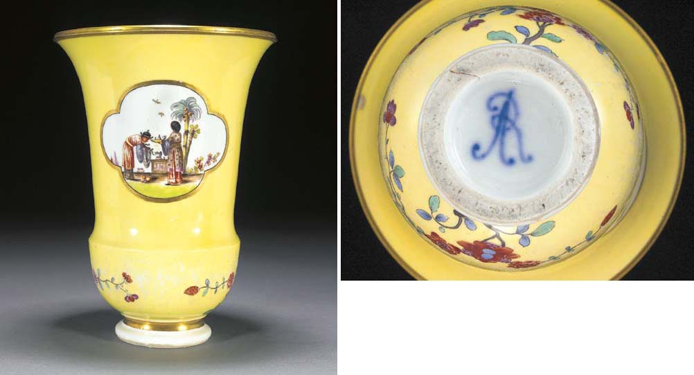 A Meissen yellow-ground August