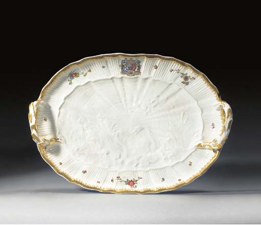 A Meissen two-handled oval dis