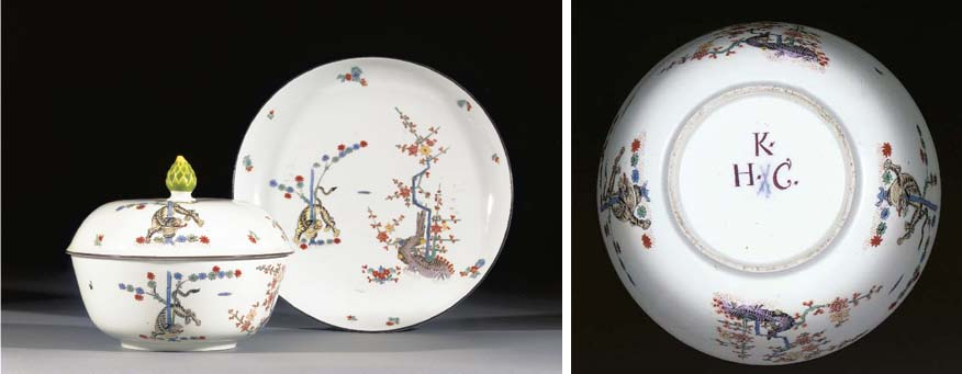 A Meissen kakiemon circular bowl, cover and a stand