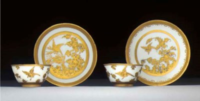 A Meissen teabowl and saucer a