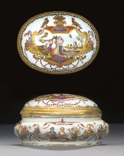 A Meissen Hausmalerei oval sugar-box and cover