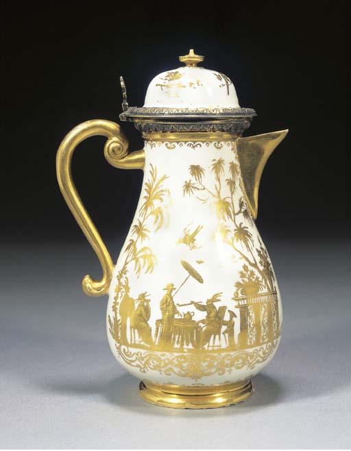 A Meissen silver-gilt-mounted