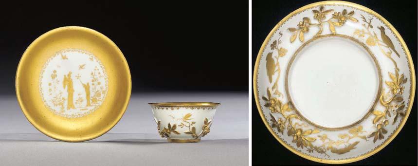 A Böttger Goldchinesen teabowl and saucer
