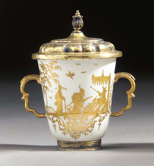 A Meissen silver-gilt mounted