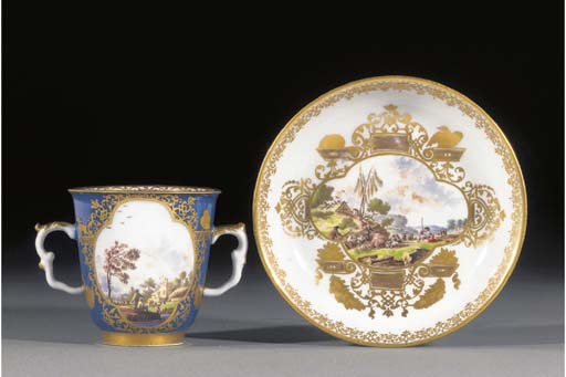 A Meissen blue-ground two-hand
