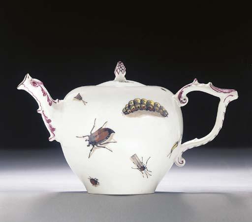 A Meissen bullet-shaped teapot