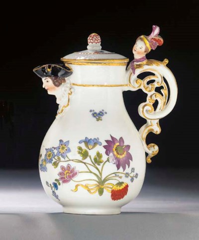 A Meissen baluster hot-milk ju