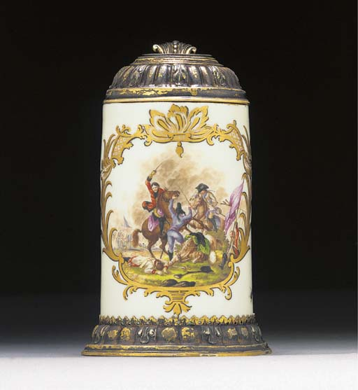 A Meissen silver-gilt mounted small cylindrical tankard