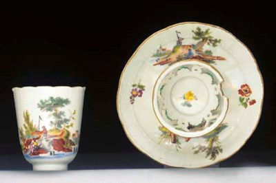 A Meissen coffee-cup and tremb