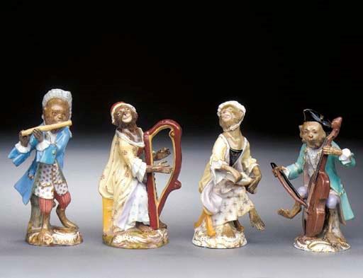 Four Meissen monkey-band figur