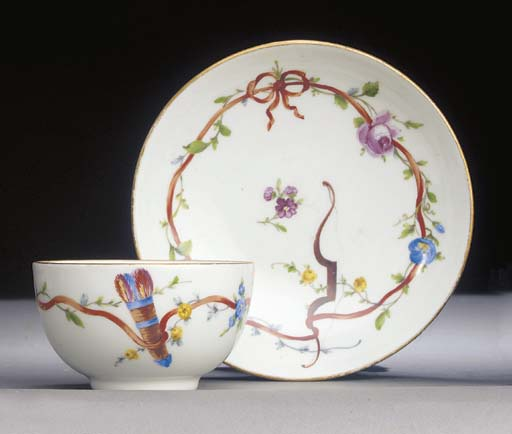 Eight Meissen (Marcolini) teabowls and saucers
