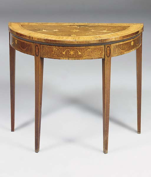 A GEORGE III SATINWOOD, HAREWOOD AND MARQUETRY DEMI-LUNE CARD-TABLE