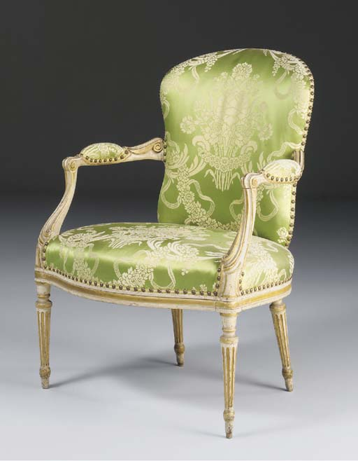 A GEORGE III WHITE-PAINTED AND