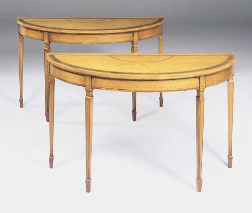 A PAIR OF SATINWOOD DEMI-LUNE