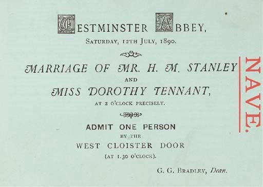THE WEDDING OF HENRY STANLEY A
