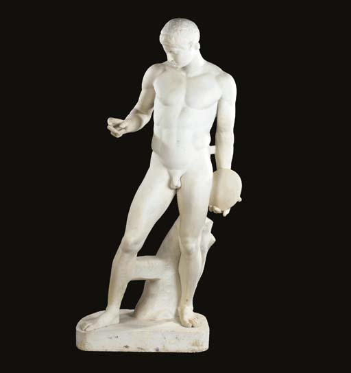 A white marble figure of the S