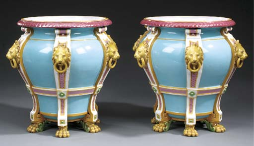 A pair of English Majolica lig