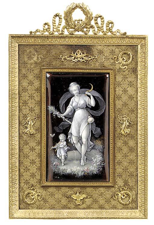A Napoleon III enamel plaque e