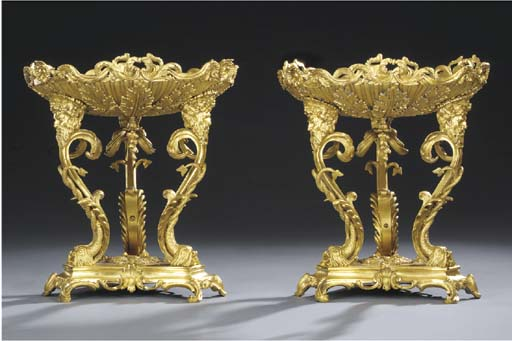 A pair of English gilt-bronze