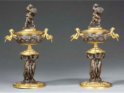 A pair of Napoleon III gilt, s