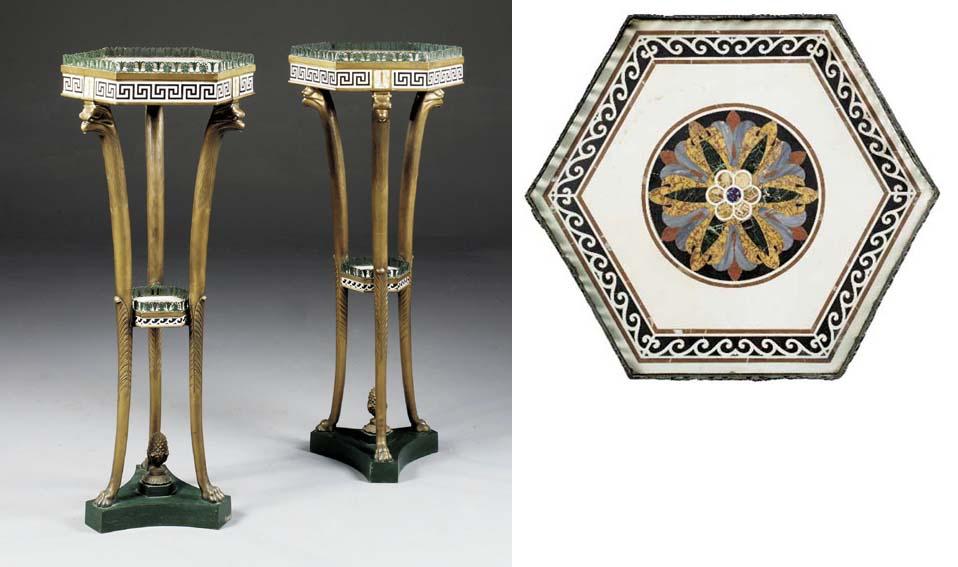 A pair of bronze and pietra du