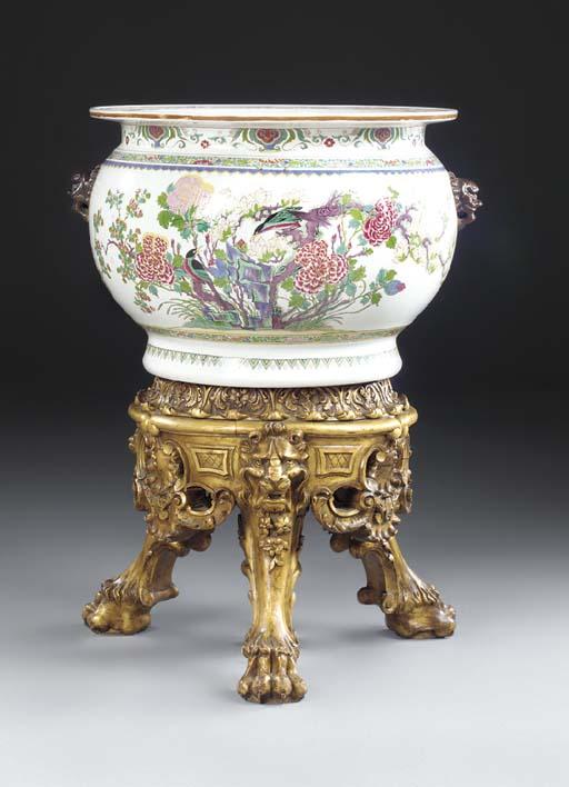A large porcelain bowl on a gi