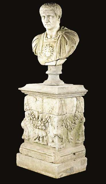A white marble bust of a Roman