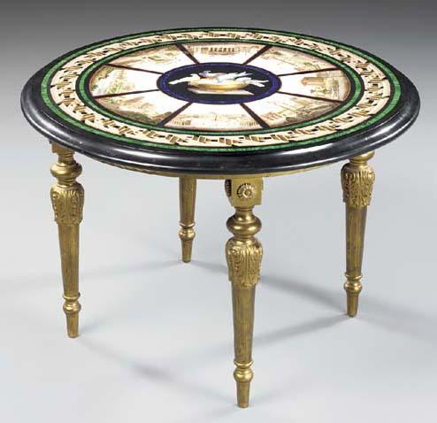 An Italian malachite, lapis and micro-mosaic table