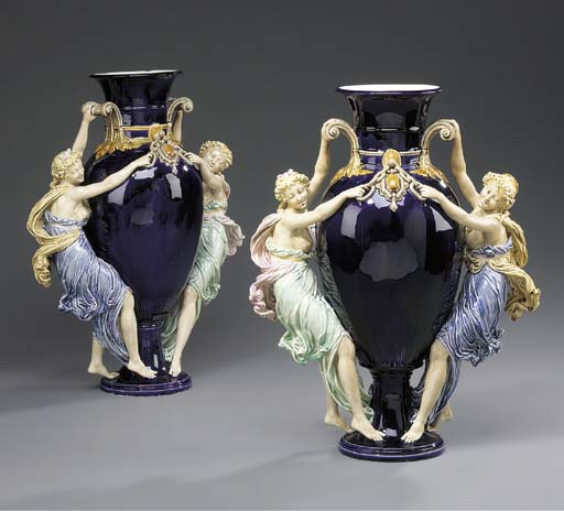 A pair of French majolica vase