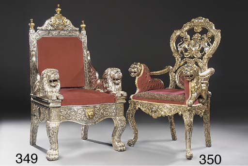 An Anglo-Indian parcel-gilt silvered-metal throne