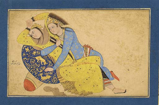 LOVERS RECLINING ON A CUSHION
