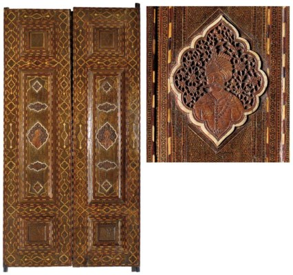 A PAIR OF QAJAR MARQUETRY MOSA