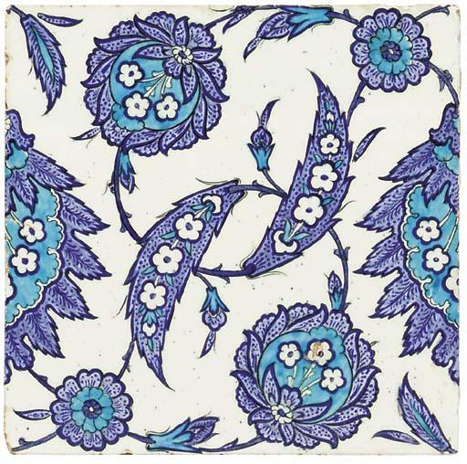 AN IZNIK BLUE, WHITE AND TURQU