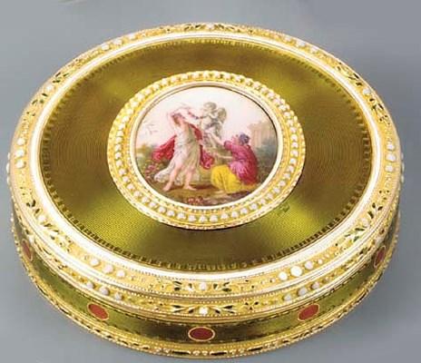 A SWISS ENAMELLED GOLD BONBONN