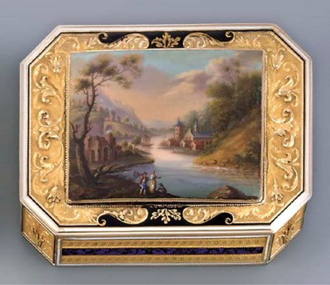 A SWISS ENAMEL AND GOLD SNUFF-