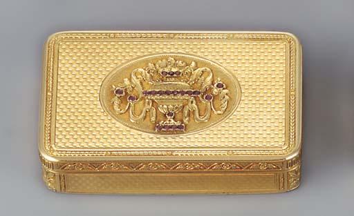 A JEWELLED SWISS GOLD SNUFF-BO
