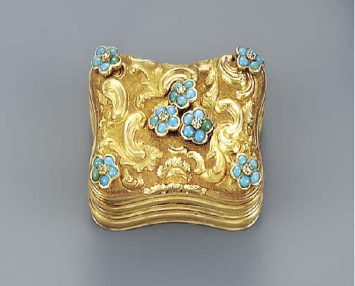 A turquoise and diamond-set go