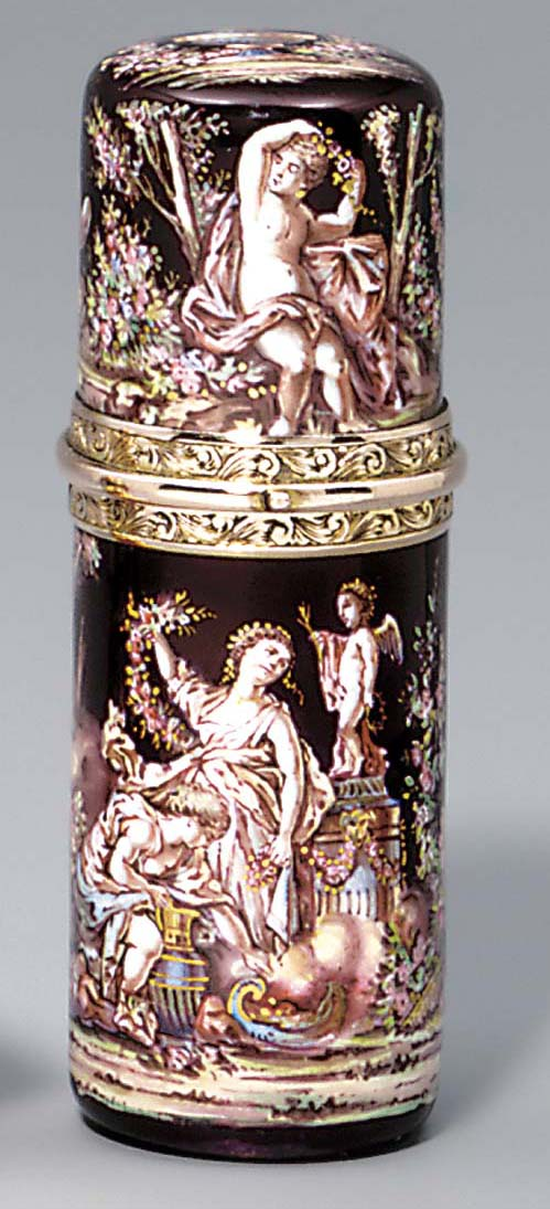 A gold and enamelled double vi