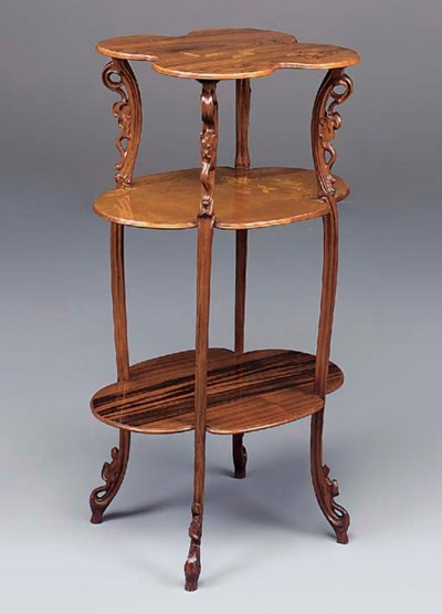 A Three-Tier Marquetry Etagere