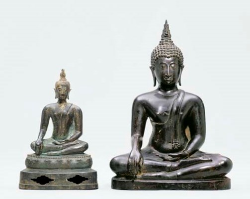 TWO THAI BRONZE BUDDHAS