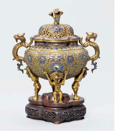 A CHAMPLEVÉ ENAMEL AND GILT-CO