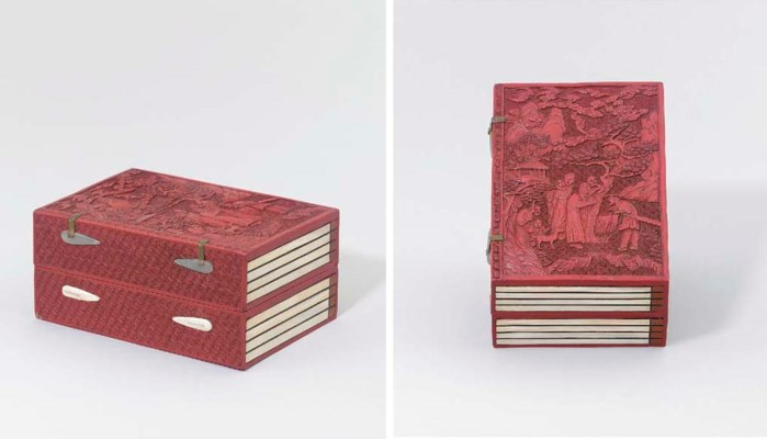A RED LACQUER AND IVORY 'BOOK'