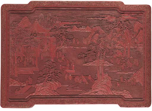 A LARGE RED LACQUER WALL PANEL