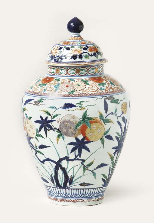 An Imari vase and cover